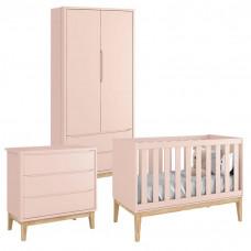 Quarto de Bebê Classic 2 Portas Rosa com Pés Madeira Natural