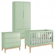 Quarto de Bebê Classic 2 Portas Verde com Pés Madeira Natura