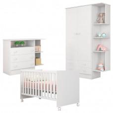 Quarto de Bebê Doce Sonho 2 Portas Cômoda com Nicho e Berço
