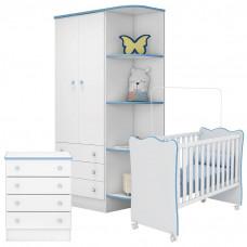 Quarto de Bebê Doce Sonho Branco Azul Brilho Qmovi