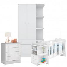 Quarto de Bebê Doce Sonho com Berço com cantoneira Branco Br