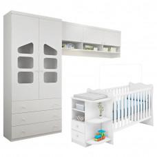 Quarto de Bebê Eloisa e Berço com Cômoda Doce Sonho Branco B