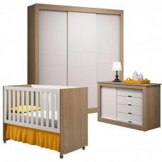 Quarto de Bebê Esmeralda Branco Acetinado/Wengue A