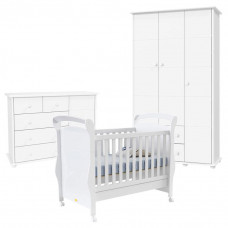 Quarto de Bebê Fratelli Plus 3 Portas Branco