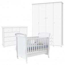 Quarto de Bebê Fratelli Plus 4 Portas Branco Acetinado