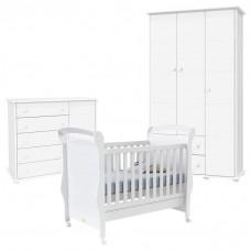 Quarto de Bebê Fratelli Slim 3 Portas Branco
