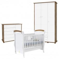 Quarto de Bebê Fratelli Slim 3 Portas Branco Acetinado Teka
