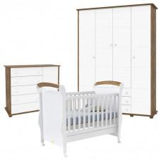 Quarto de Bebê Fratelli Slim 4 Portas Branco Acetinado Teka