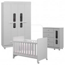 Quarto de Bebê Katatau 4 Portas Branco Brilho