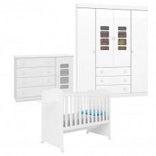 Quarto de Bebê Lis com Berço Munique Branco Brilho - Canaã