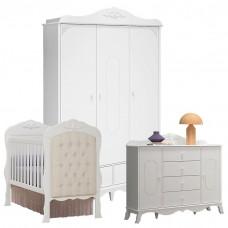 Quarto de Bebê Realeza 3 Portas com Cômoda 2 Portas e Berço