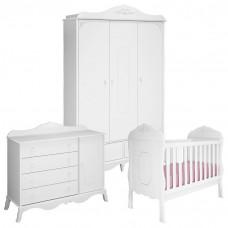 Quarto de Bebê Realeza 3 Portas e Cômoda Infantil 1 Porta Br