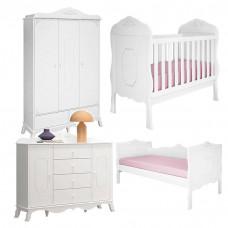 Quarto de Bebê Realeza e Cama Infantil Branco Acetinado A