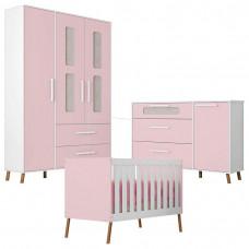 Quarto de Bebê Retrô Bibi 3 Portas com Cômoda 1 Porta Branco
