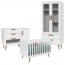 Quarto de Bebê Retro Glass 2 Portas com Cômoda 1 Porta Branc