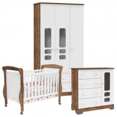 Quarto de bebê Smart 3 Portas Branco Acetinado Teka Touch Ma