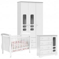 Quarto de bebê Smart 3 Portas Branco Brilho