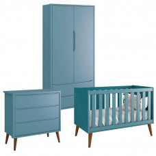 Quarto de Bebê Theo 2 Portas Azul com Pés Amadeirados – Rell