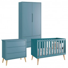Quarto de Bebê Theo 2 Portas Azul com Pés Madeira Natural –