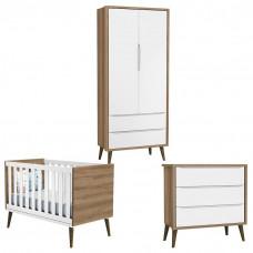 Quarto de Bebê Theo 2 Portas Branco Acetinado Mezzo Castani