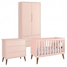Quarto de Bebê Theo 2 Portas Rosa com Pés Amadeirados – Rell