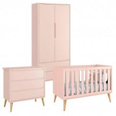 Quarto de Bebê Theo 2 Portas Rosa com Pés Madeira Natural –