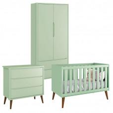 Quarto de Bebê Theo 2 Portas Verde com Pés Amadeirados – Rel