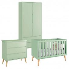 Quarto de Bebê Theo 2 Portas Verde com Pés Madeira Natural –