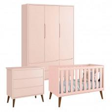 Quarto de Bebê Theo 3 Portas Cômoda Gaveteiro Rosa com Pés A