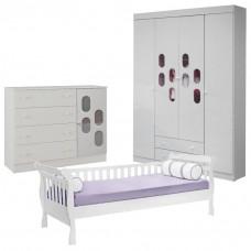 Quarto Infantil New Allegro com Cama Encanto Branco Brilho 0